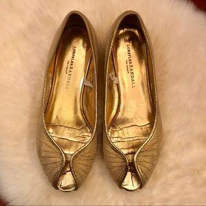 Loeffler Randall shimmery peep-toe ballet flats